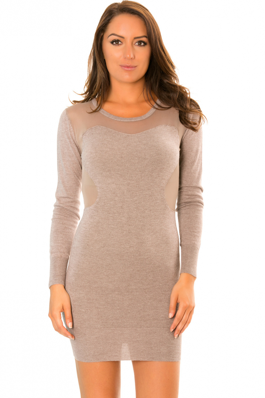 Taupe sweater dress with tulle bust. PU300-121
