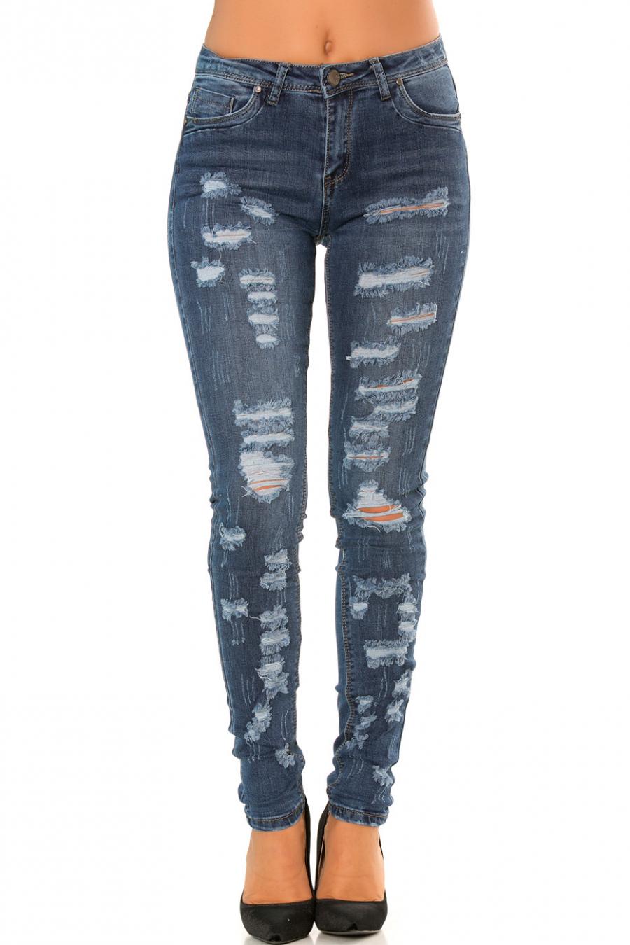 Pantalon jeans slim Bleu effet déchiré sur le devant  PTL-S2591