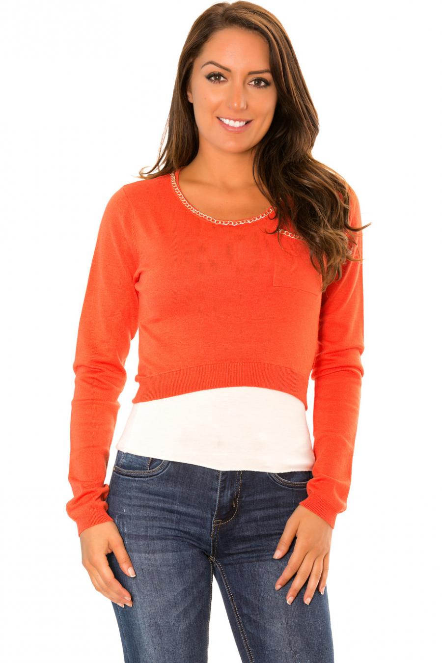 Pull crop top Orange poches et encolure fantaisie. PU-892