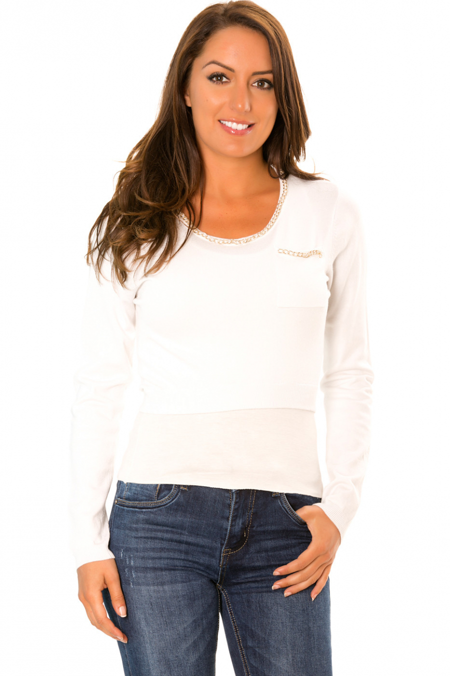 White crop top sweater with pockets and fancy neckline. PU-892