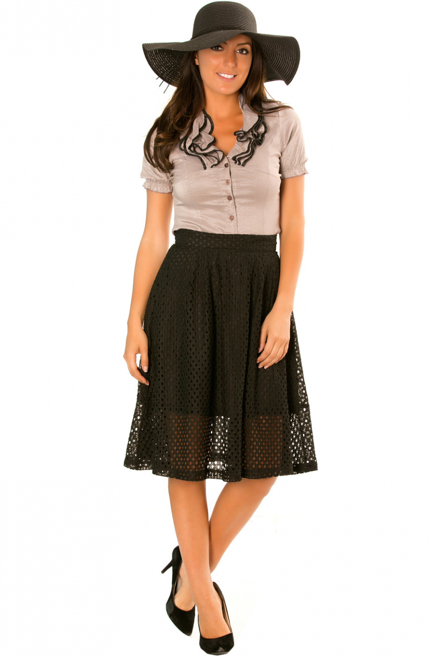 Blouse with black frilly border. Chic blouse. 723