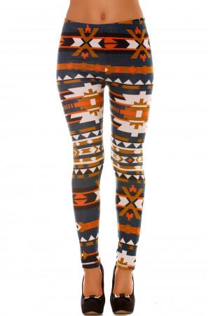 Kleurrijke winterlegging in eendenpatroon en oranje patronen. Legging in modieuze stijl. 113-1