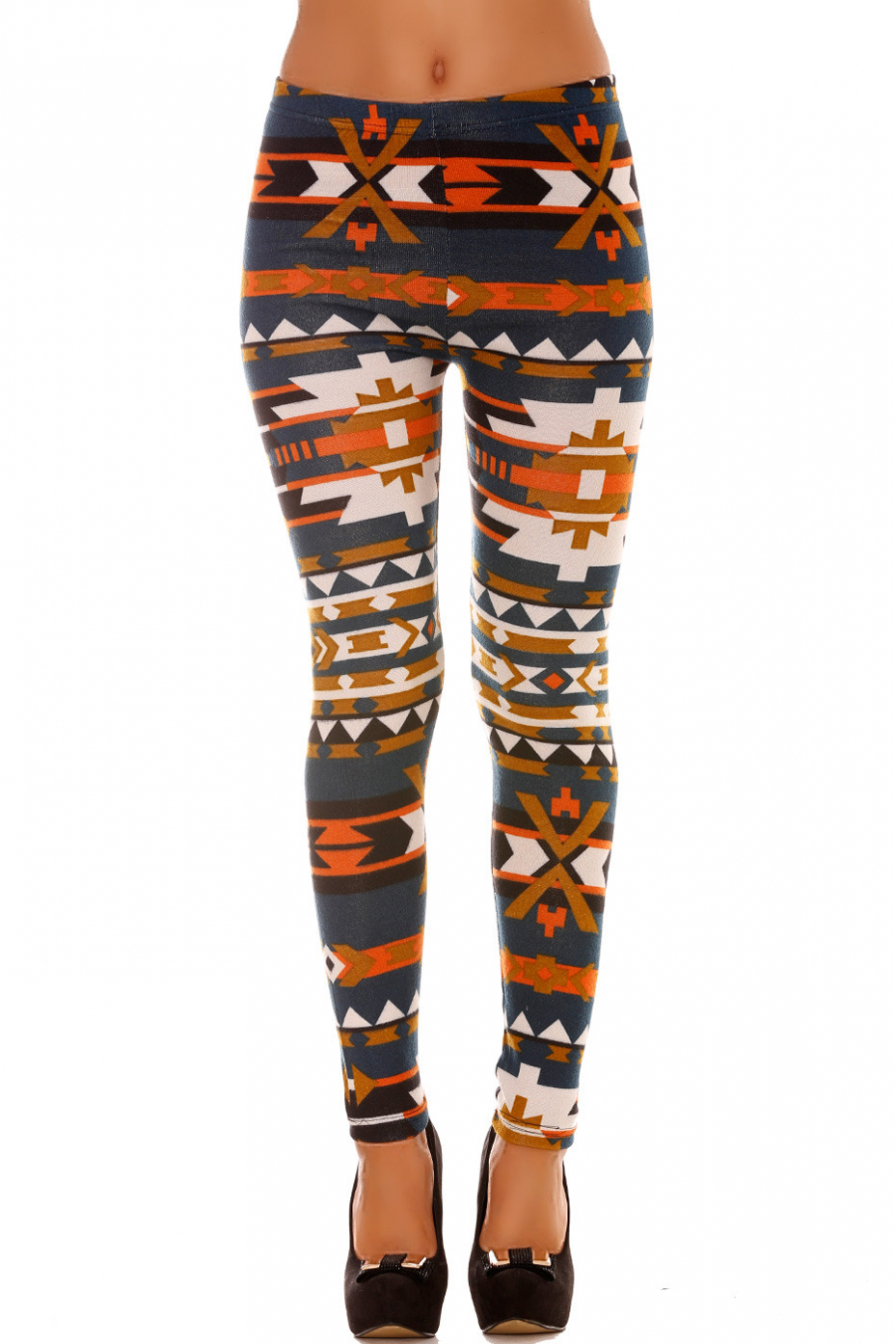 Colorful winter leggings in Duck and orange fancy patterns. Fashion style leggings. 113-1