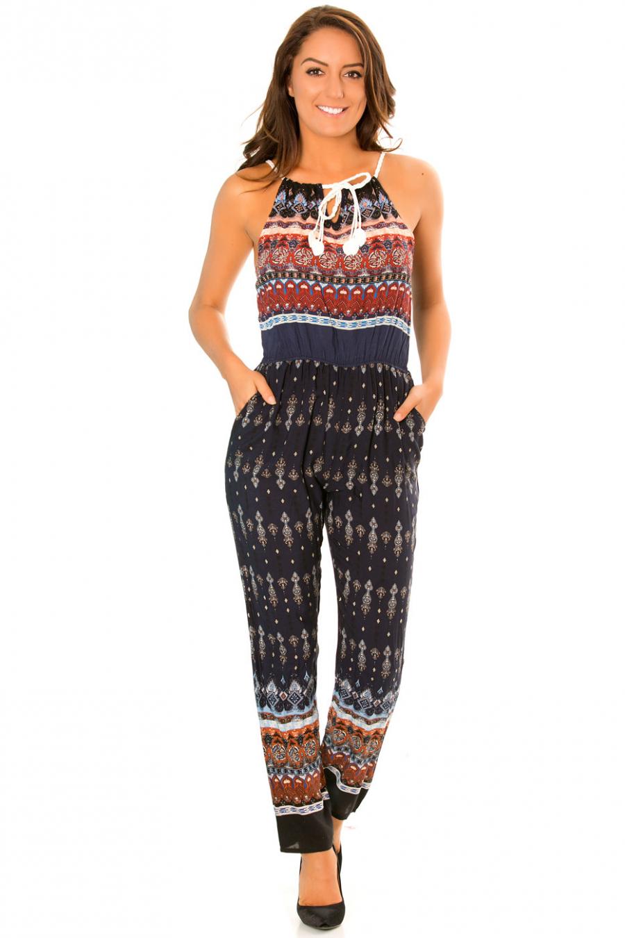 Combinaison pantalon Marine à motifs abstrait et col lacets. 3141