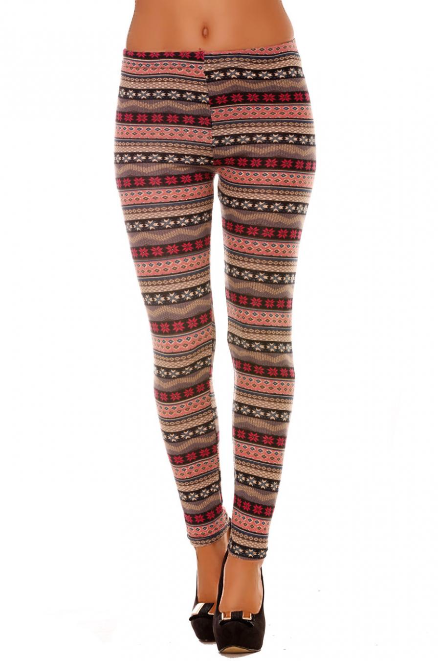 Leggings d'hiver en acrylique en Fushia et Gris avec jolie motif. Leggings Tendance 112-4