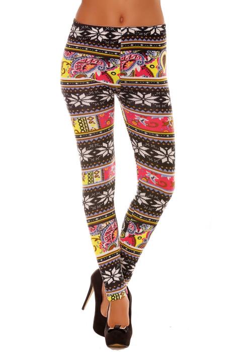 Multicolored acrylic leggings with flower pattern. Fashion Leggings 109-2