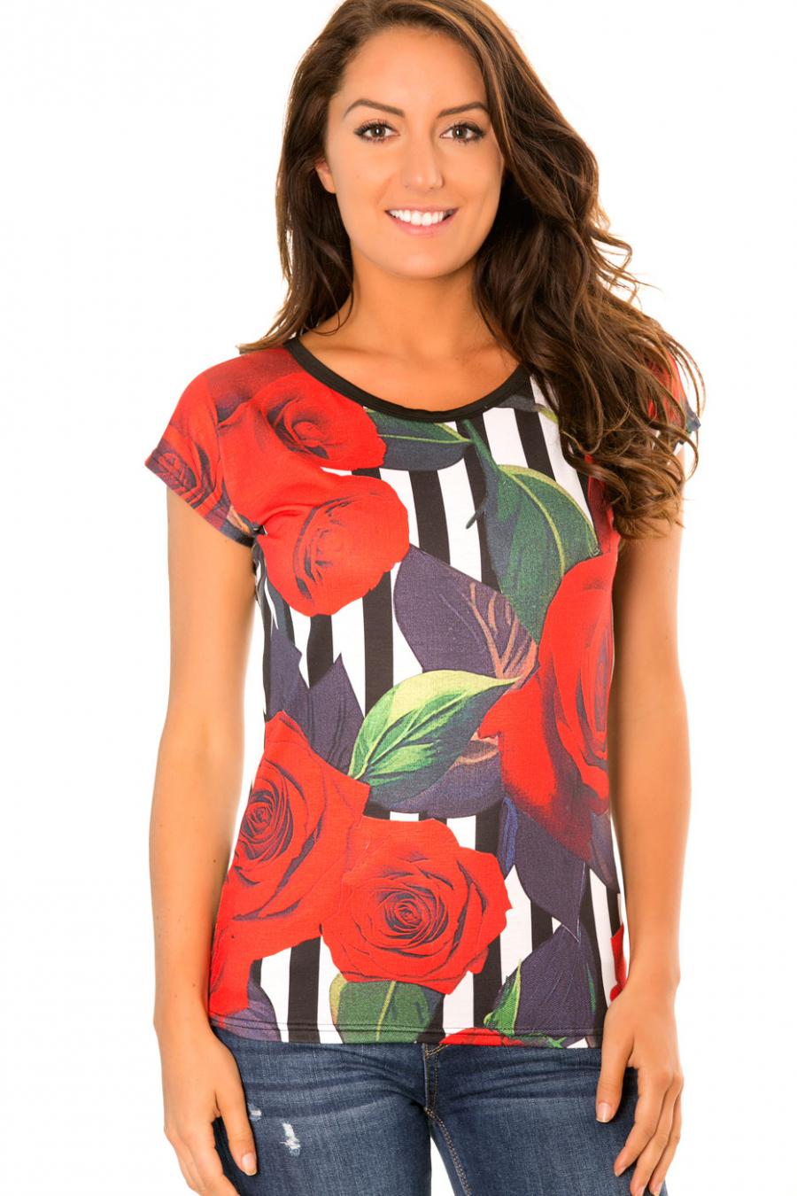 Soepel gestreept T-shirt zwart, wit met bloemenpatroon - MC1664