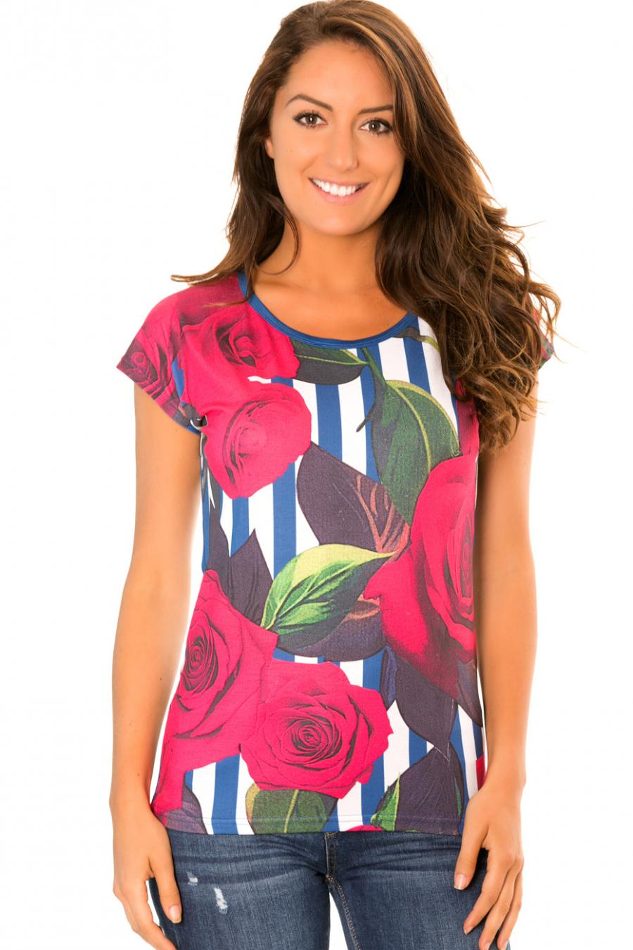 Tee shirt fluide à rayure Bleu marine, Blanc à motif fleurs - MC1664