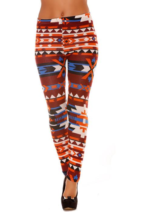 Leggings en acrylique coloré orange, bordeaux, bleu et motifs aztèque. Leggings pas cher 113-2
