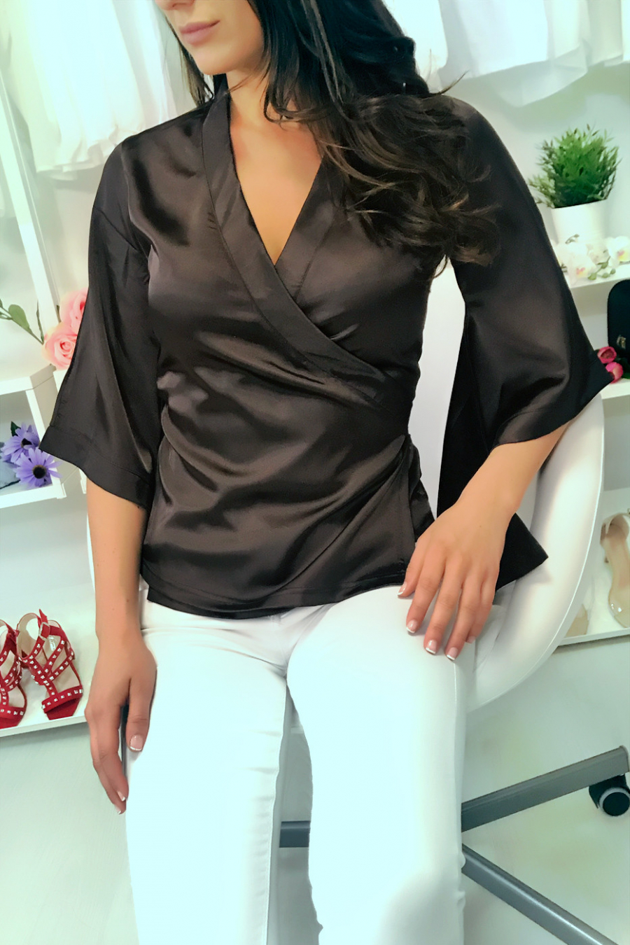 Satin brown wrap-around blouse with trapeze sleeves. Chic blouse. 20