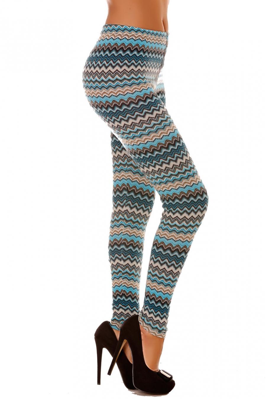 Leggings d'hiver en acrylique coloré en turquoise et motifs zig zag ultra fashion. 140-4