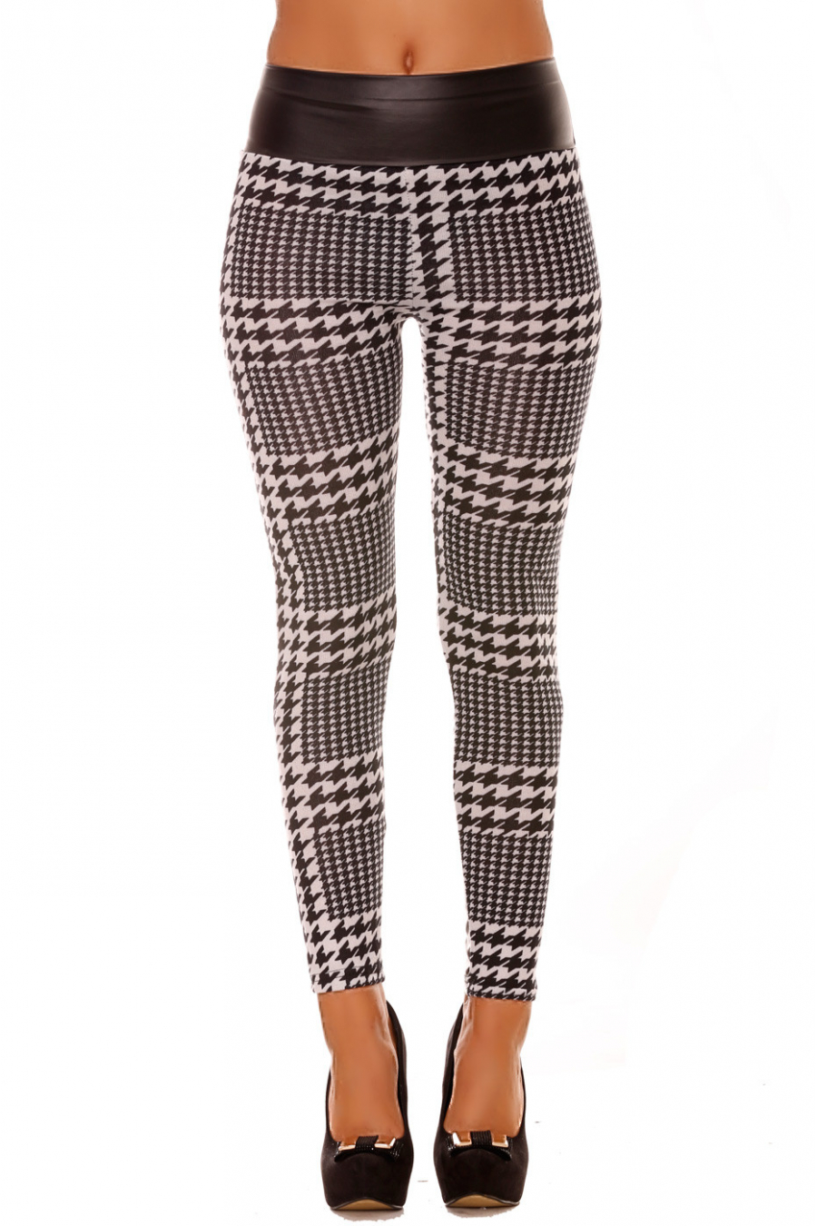 Black and white winter leggings, houndstooth and sky patterns on the back. Cheap Leggings. 152