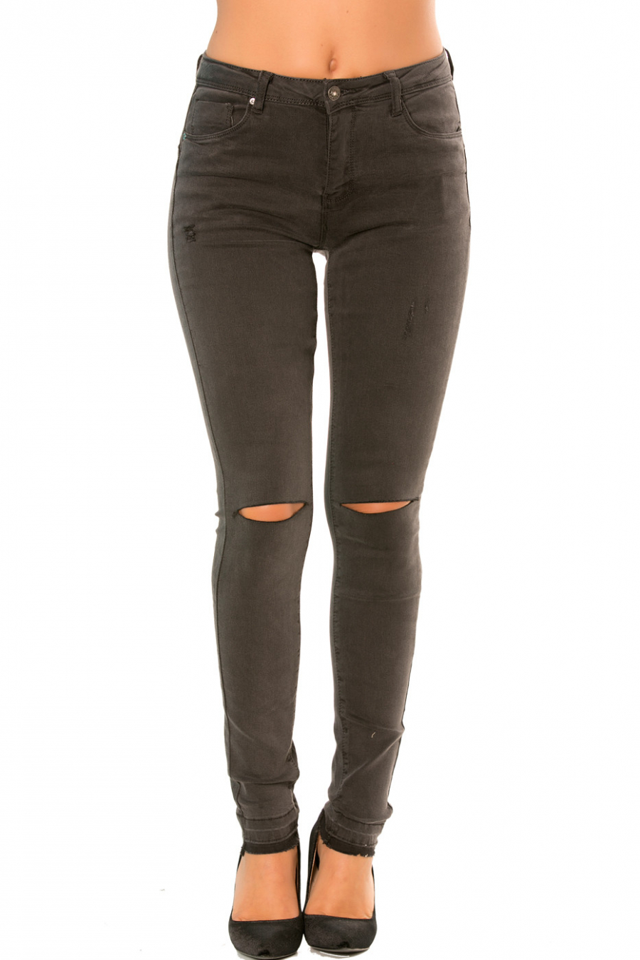 Anthracite slim jeans pants with holes at the knees. PTL-S820