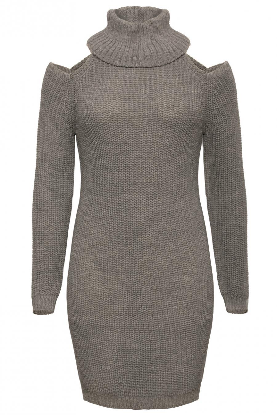Robe pull gris col roulé avec épaule dénudé. Mode femme 8018