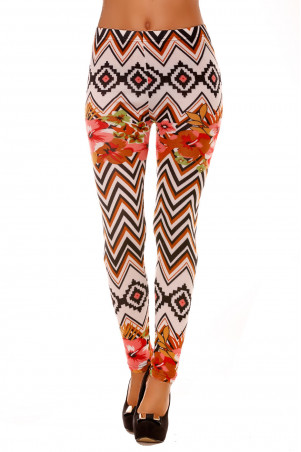 Winter leggings colored in white, Choco and fancy patterns and flowers. Cheap fashion. 121-4