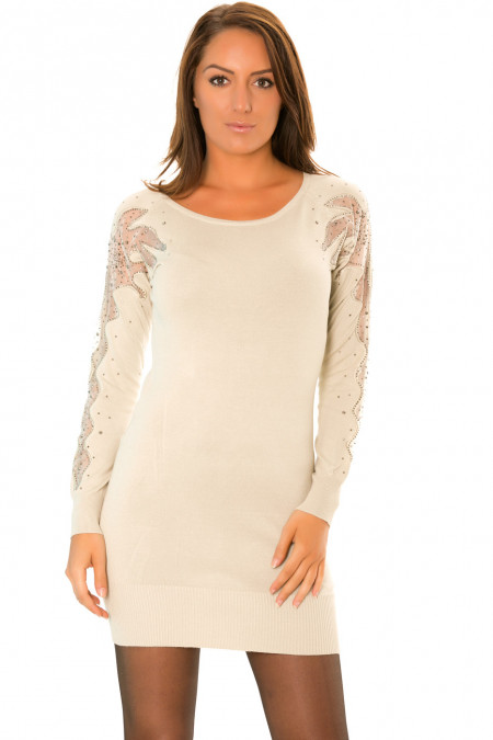 Tunic dress with embroidery and rhinestones on the sleeves. Women's tunic 2020