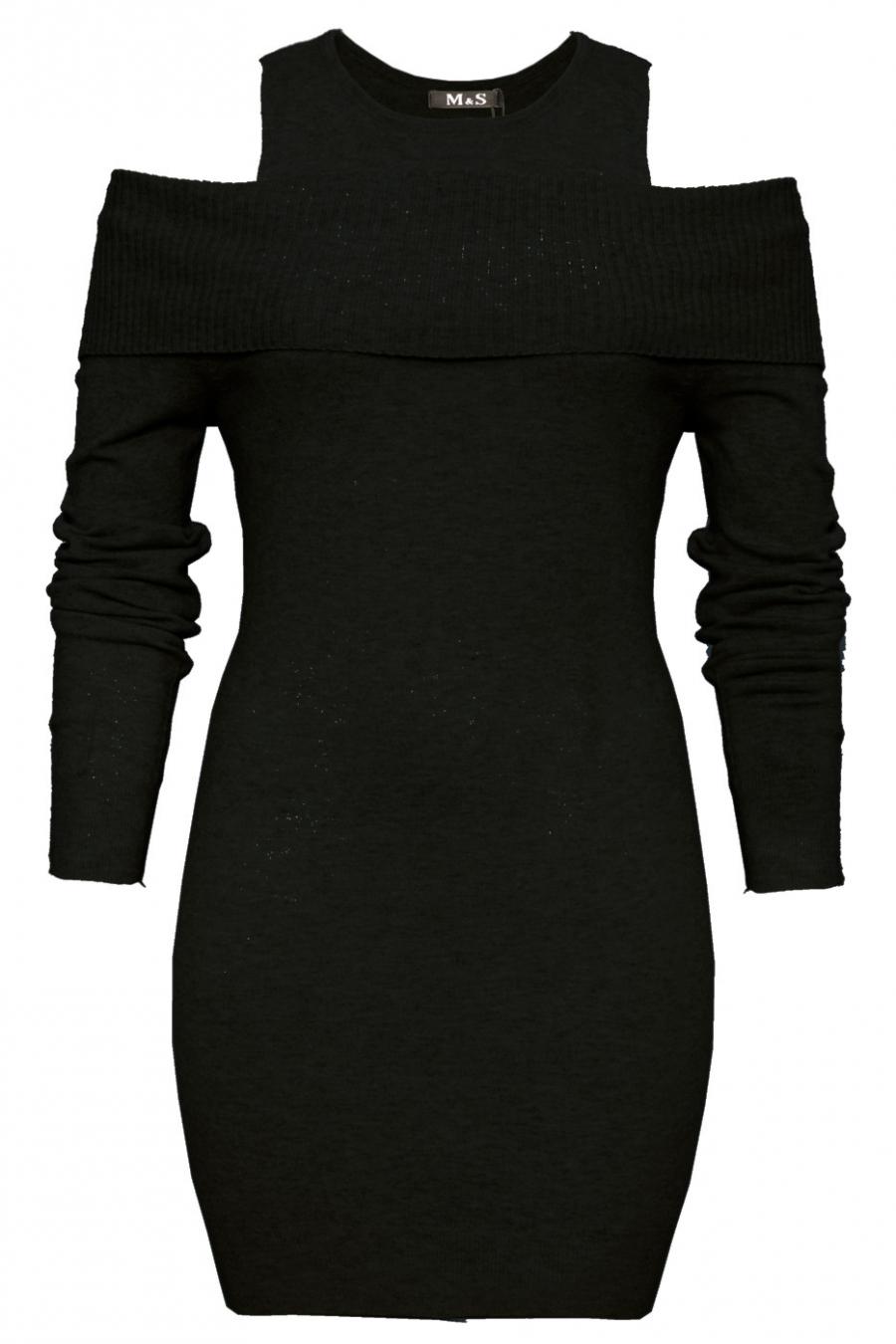 Mooie zwarte tuniek open schouder. Trendy kleding 1969