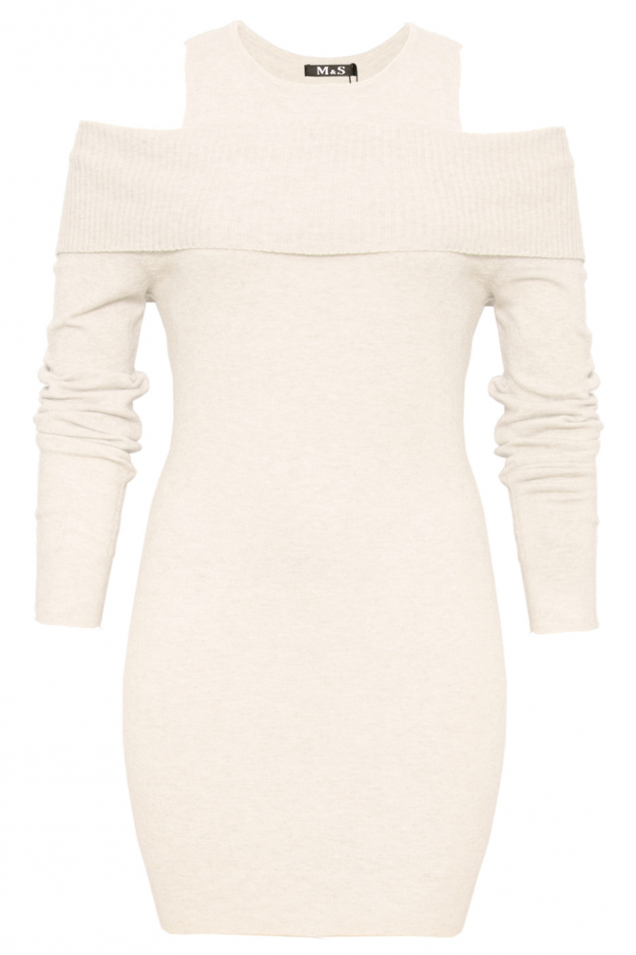 Beautiful white tunic open shoulder. Trendy clothing 1969