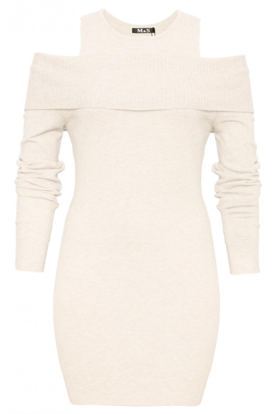 Mooie witte tuniek open schouder. Trendy kleding 1969