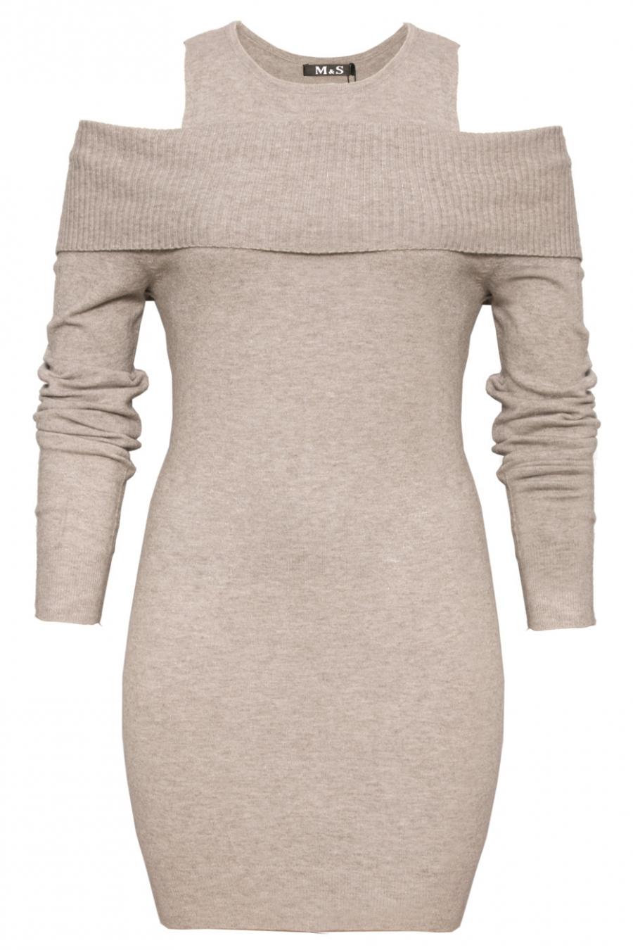 Mooie grijze open schouder tuniek. Trendy kleding 1969