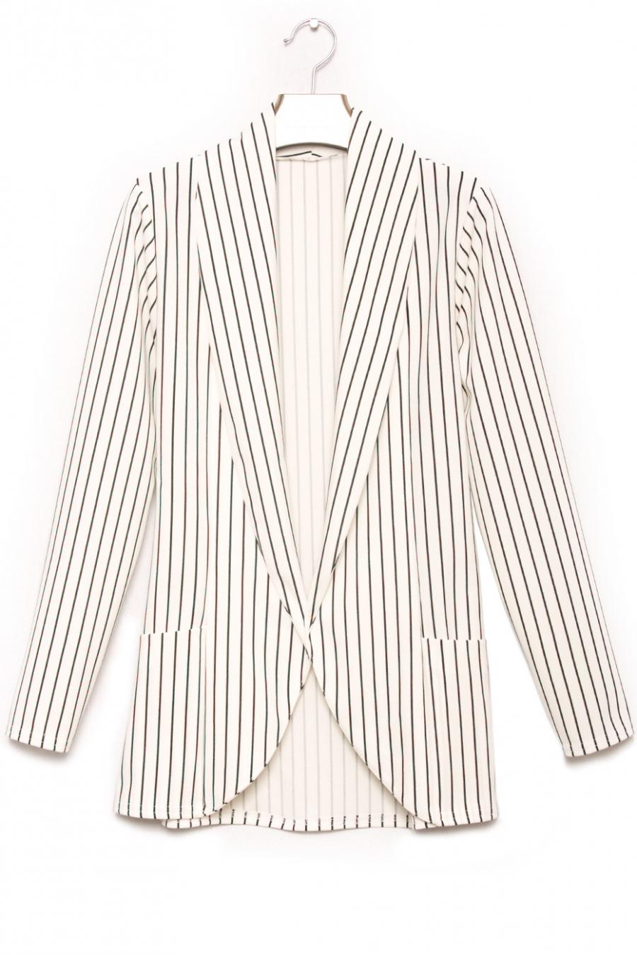 Blazer fashion blanc et noir avec poche. Veste femme fashion 1526