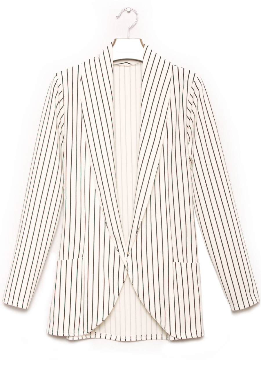 White and black fashion blazer with pocket. Women's fashion jacket 1526