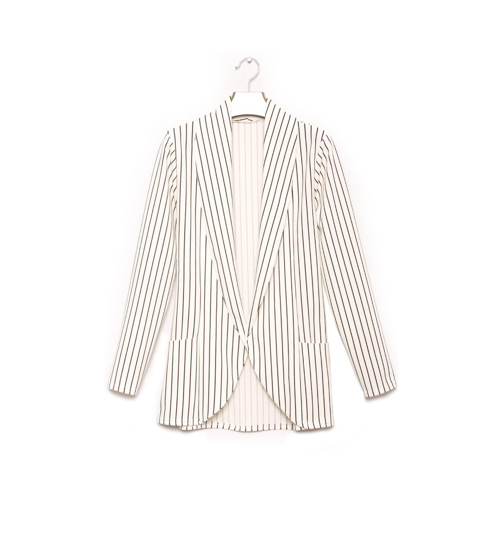 blazer fashion blanc et noir avec poche veste femme fashion 1526