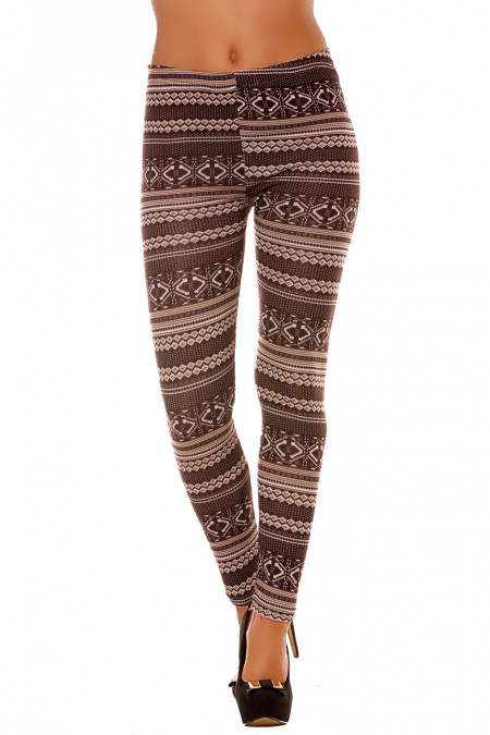 Colorful winter leggings in Choco and fancy patterns. Trendy Fashion. 107-3