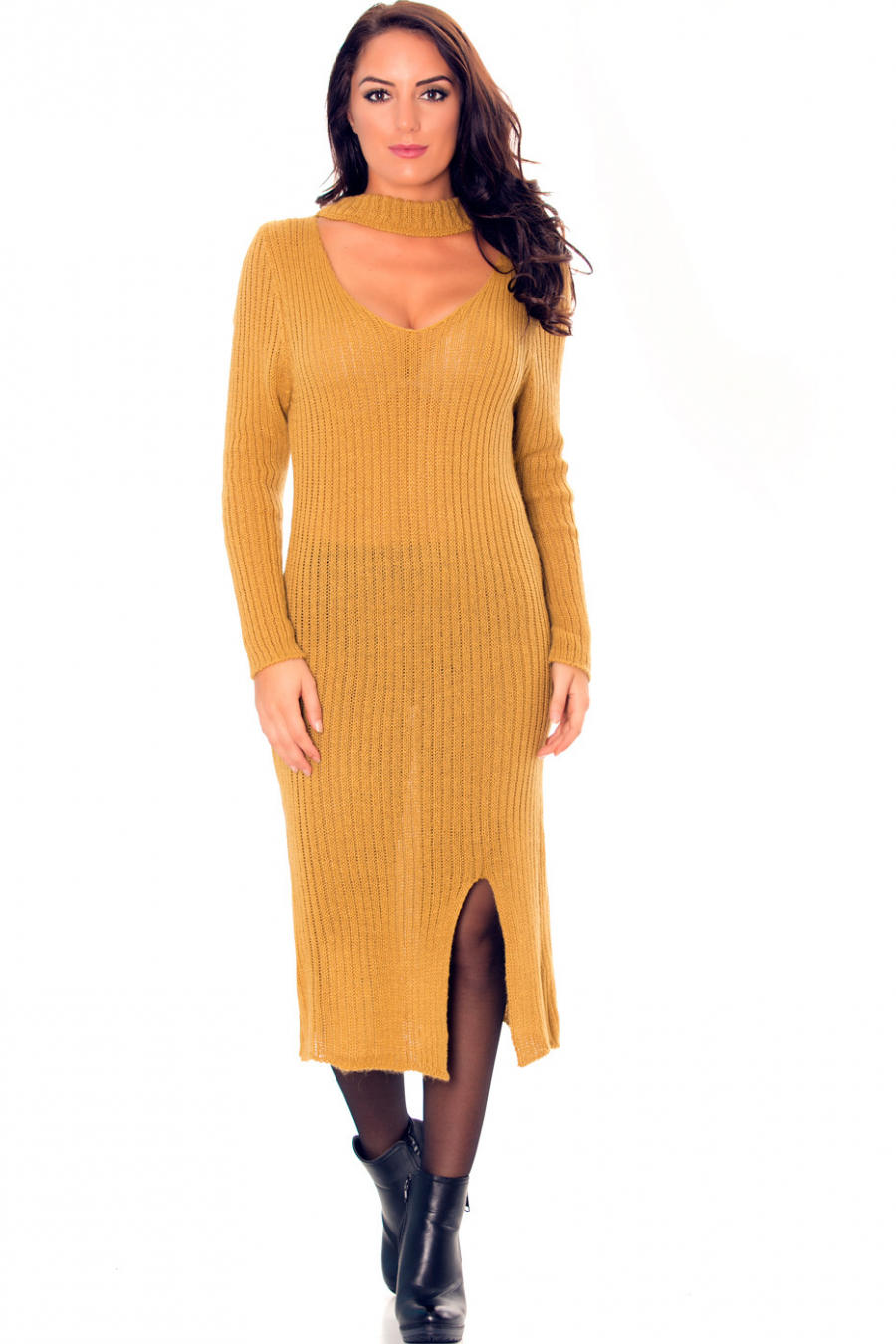Longue robe pull en anthracite avec attache au cou et fente sur le côté très fashion. 0005.