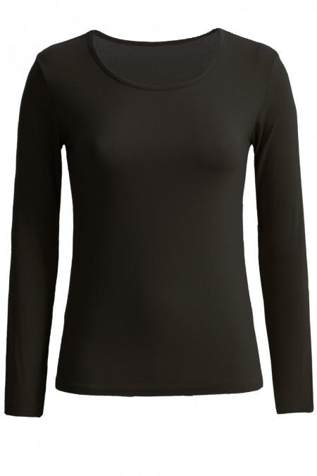 Zeer trendy zwarte trui met ronde hals. Goedkope dameskleding.