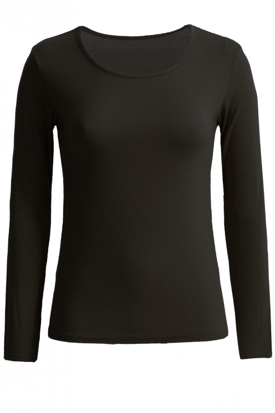Very trendy black round neck sweater. Cheap women's clothing.
