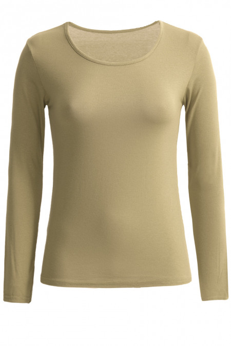 Very trendy khaki round neck sweater. Cheap women's clothing.