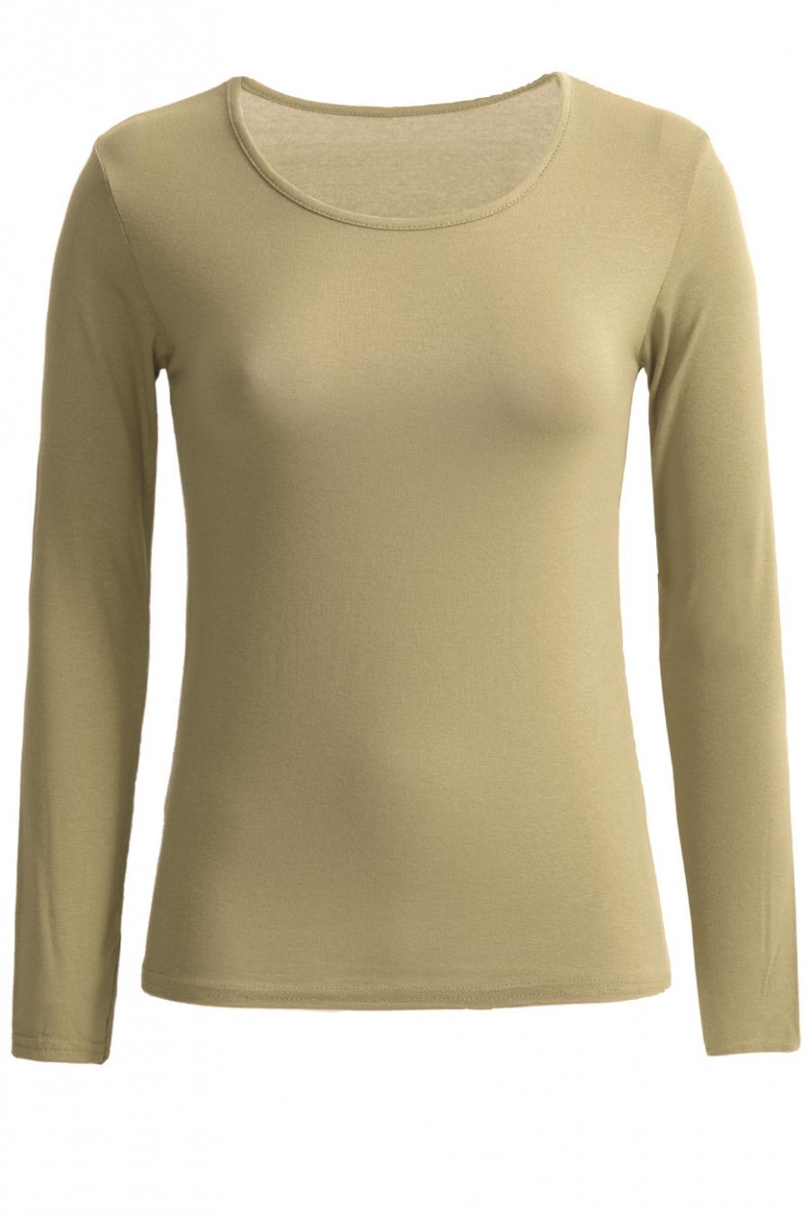 Zeer trendy kaki trui met ronde hals. Goedkope dameskleding.