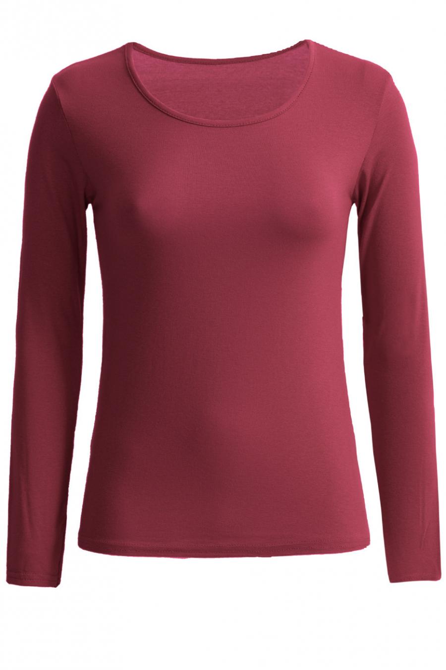 Sous-pull bordeaux à col rond très tendance. Vêtement femme pas cher.