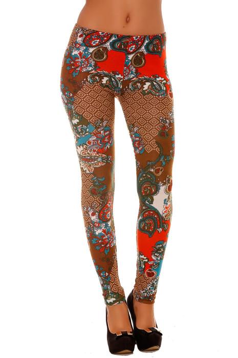 Leggings hiver Marron Arabesque Rouge et Bleu canard. Style fashion. 120-2