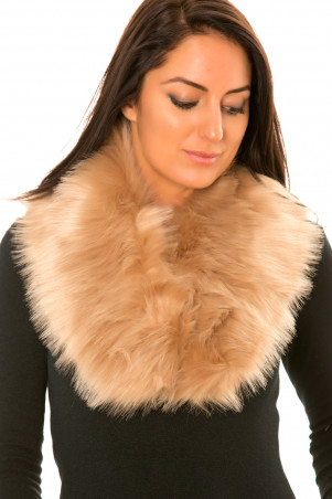 Beige Fur Neck Scarf - 14924
