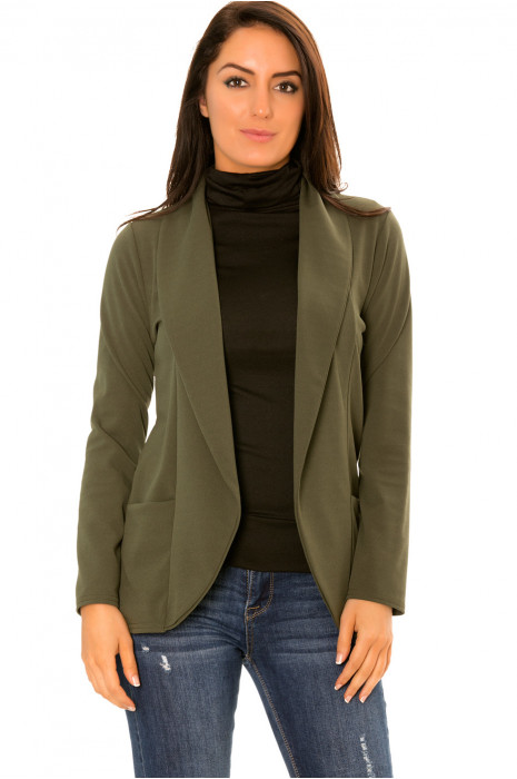 Short khaki blazer jacket with shawl collar, rolled up sleeves. 1526
