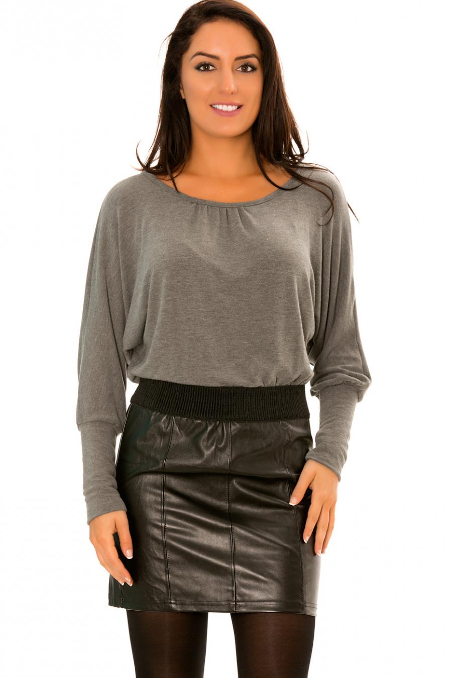 Robe Grise Bi-matière haut ample et jupe simili cuir - 158