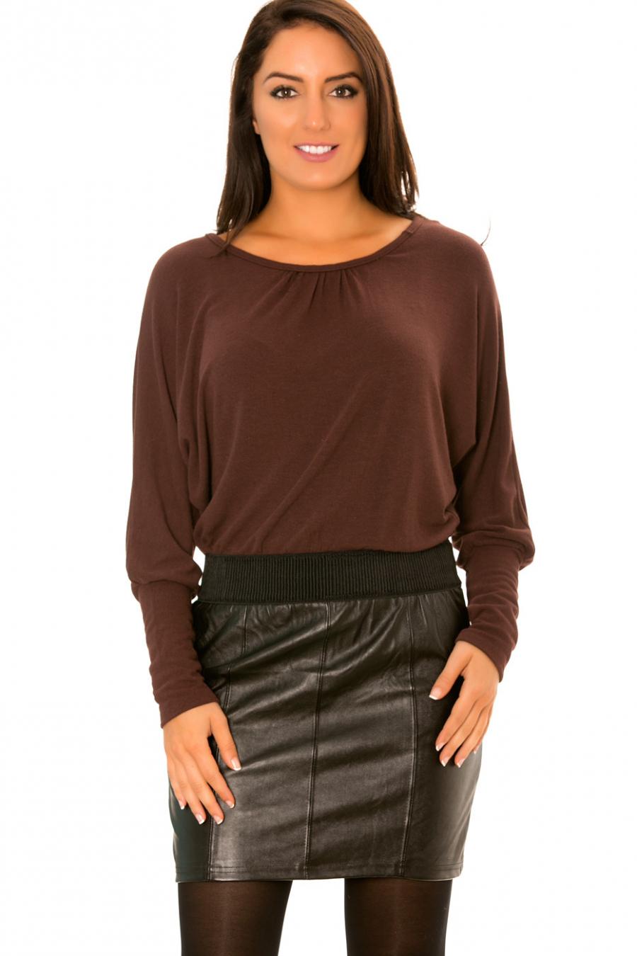 Robe Chocolat Bi-matière haut ample et jupe simili cuir - 158