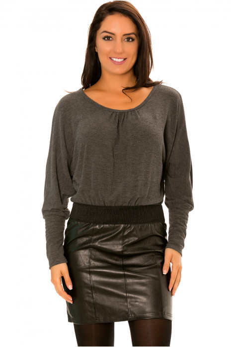 Anthracite Bi-material dress with loose top and faux leather skirt - 158