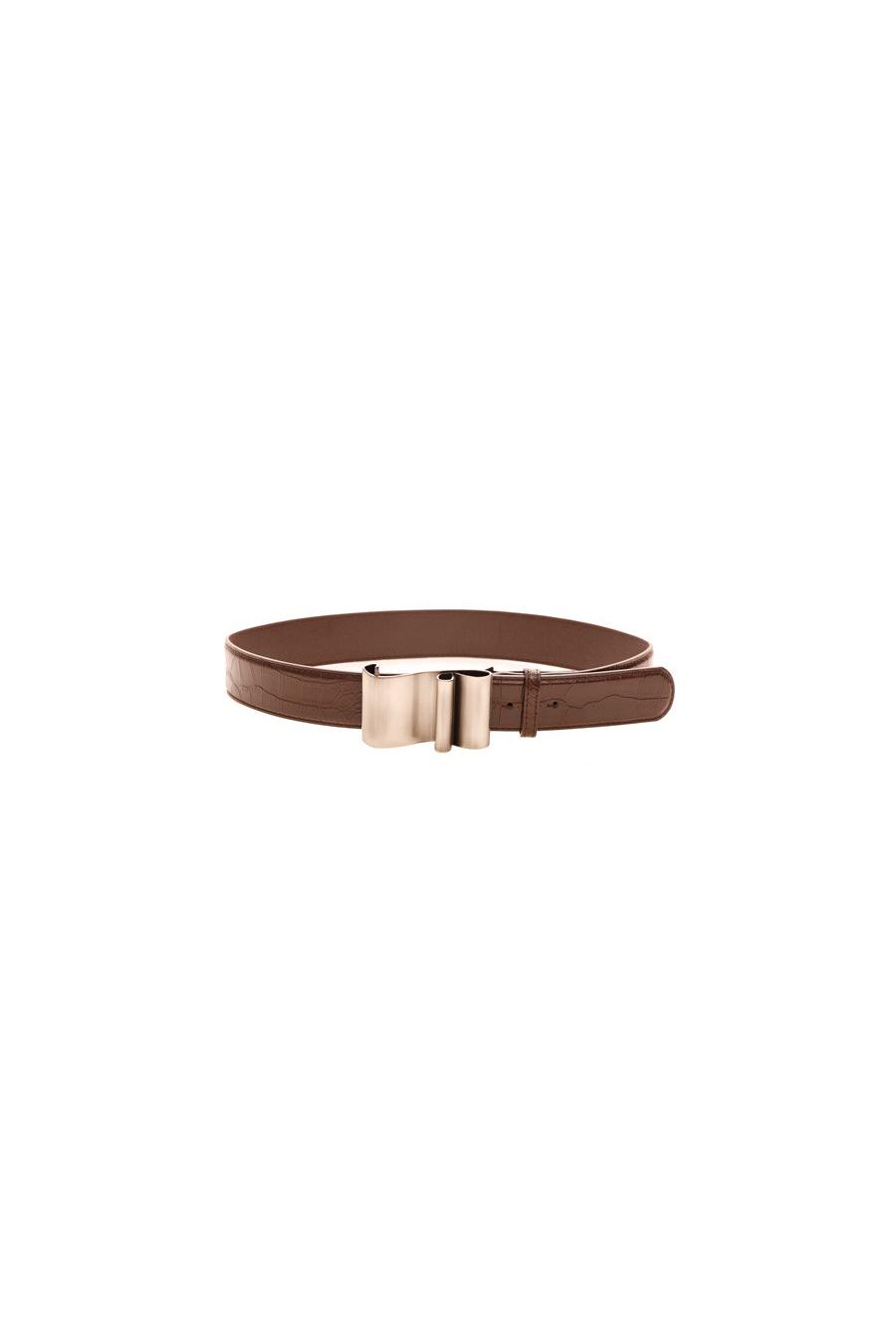 Brown crocodile skin effect belt with worked rectangular buckle - 543114