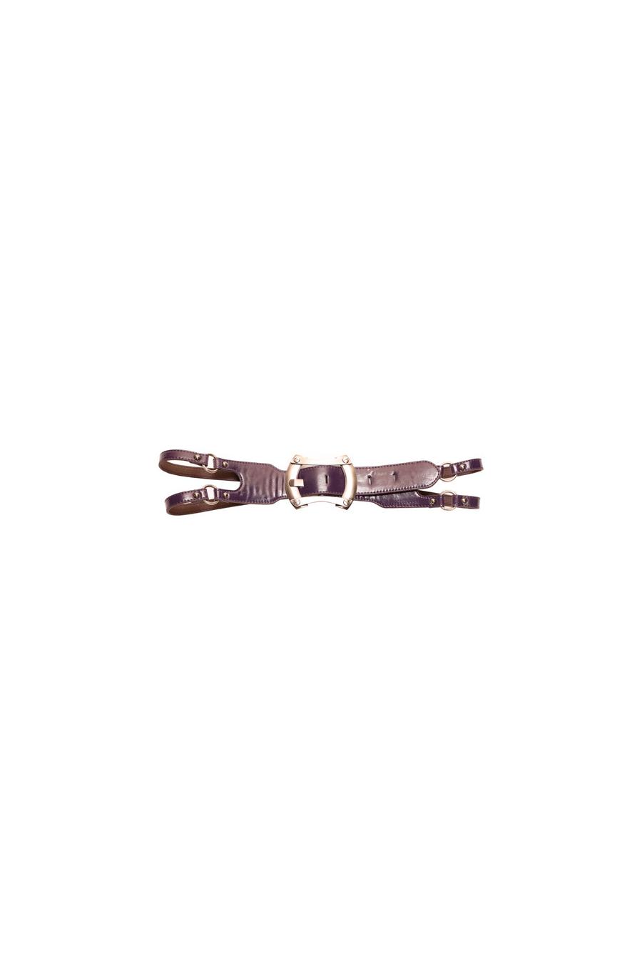 Purple belt with Double crossed strap. Large Buckle. Women's Belt. XF08154