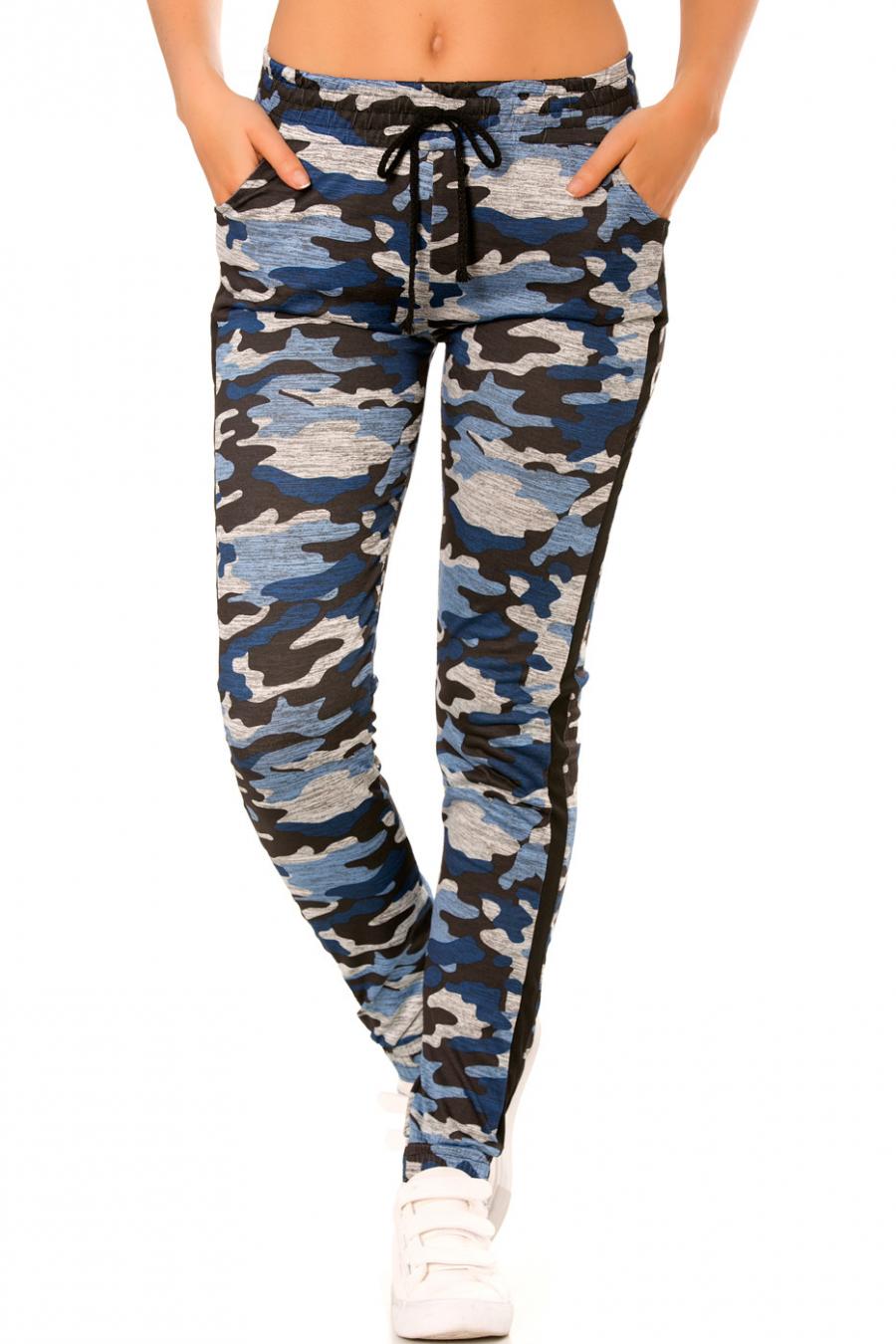 Pantalon jogging militaire bleu avec poches et bandes noires. Enleg 9-104A.