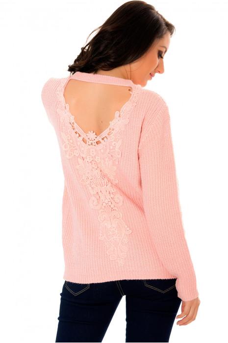 Pull tricot Rose avec un ravissant dos à crochet à col V très fashion. 2711.
