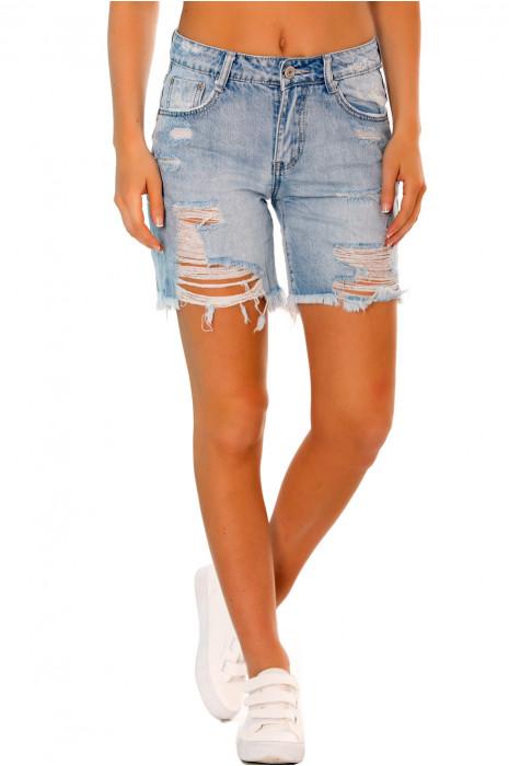 Short en jeans destroyed. Short femme destroyed R515