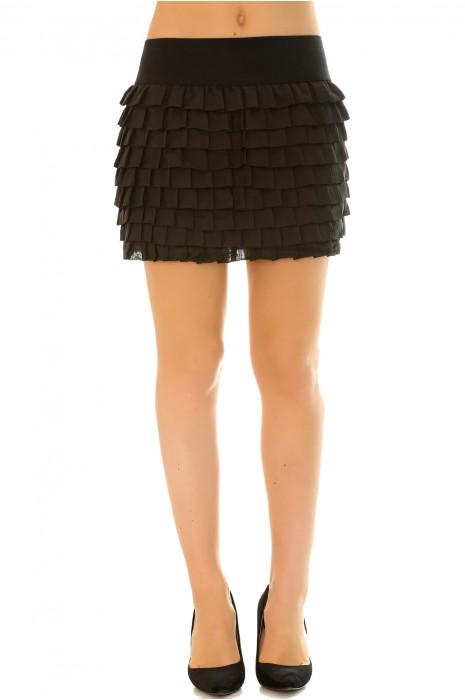 Jupe noir à volant plissé très fashion pour l'été avec élastique à la taille