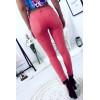 Pantalon jeans slim corail avec poche et joli rendu à l'arrière. Jans fashion JL177