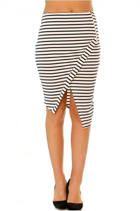 Jupe porte feuille blanc et noir très fashion. Mode femme pas cher A2513