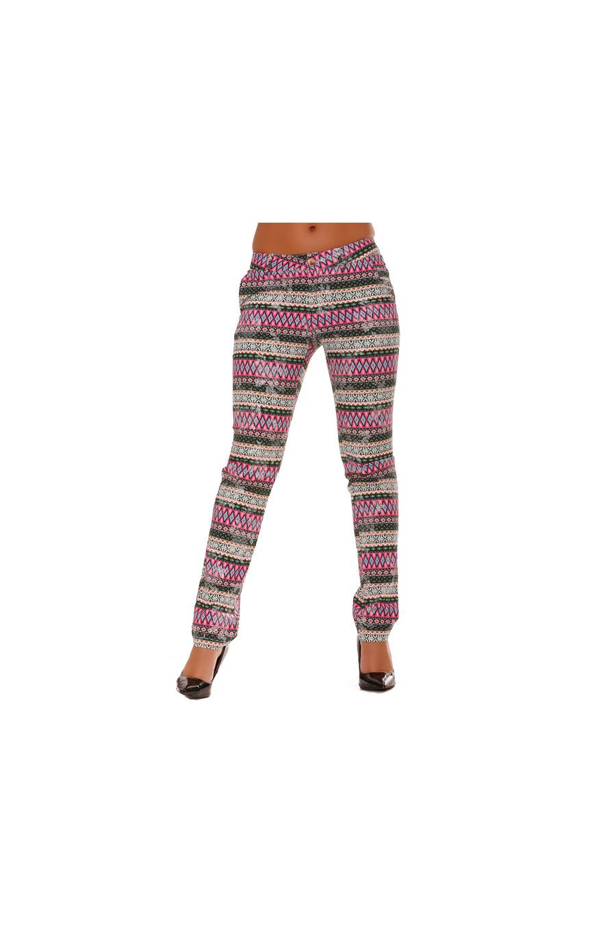 Pantalon à dominance Fushia. Fluide à motifs Aztèques. Pantalon Femme. 668