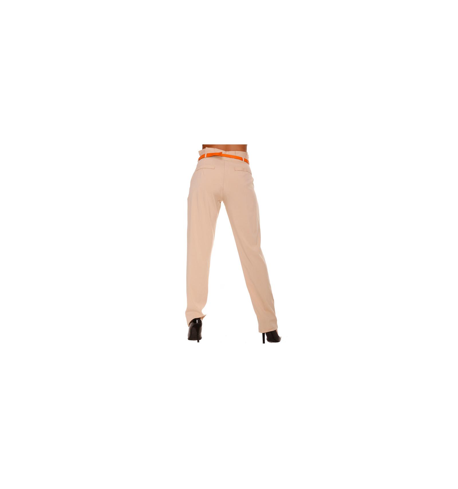 Pantalon Beige Fluide coupe Carotte. Taille Haute. Pantalon Femme. BS20208